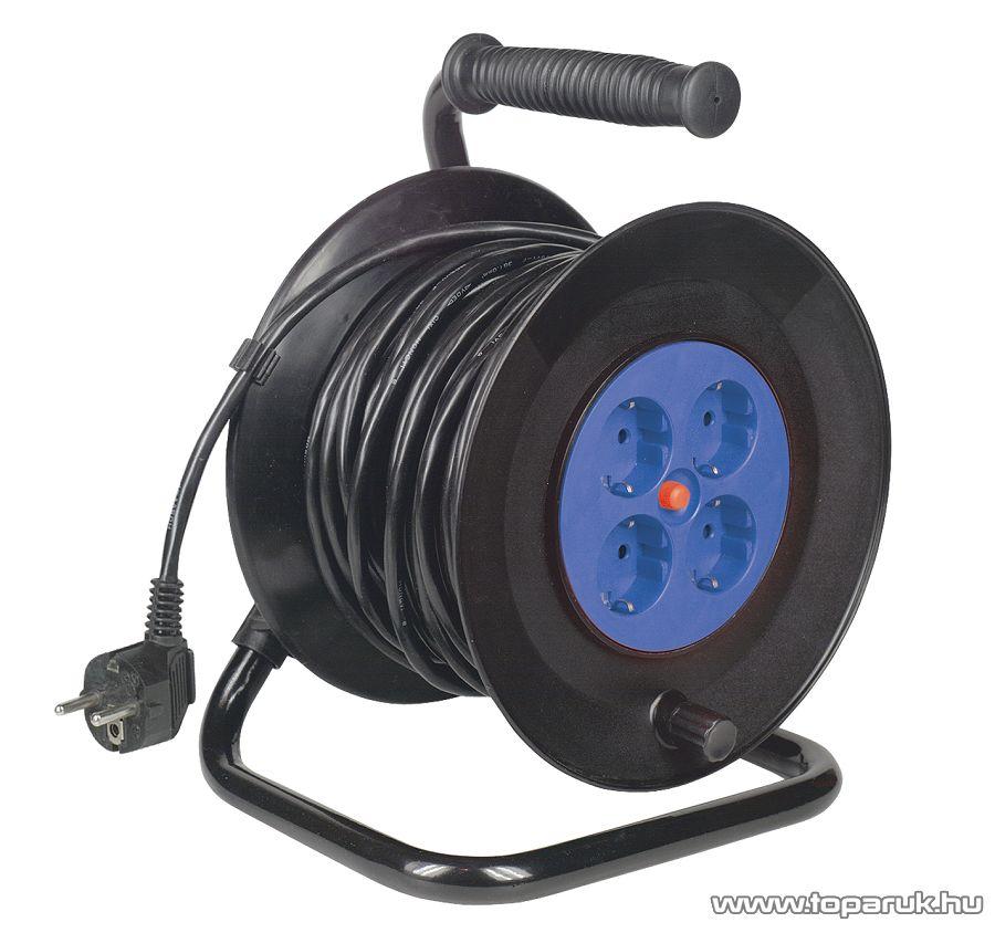 HOME HJRF 4-25/1,5 Franciacsatlakozós fém kábeldob, 25 m vezetékkel