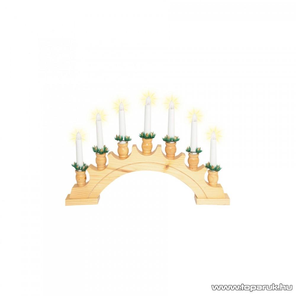 HOME KAD 02 Gyertyaív, lakkozott fa, 7 db meleg fehér fényű csavaros izzóval