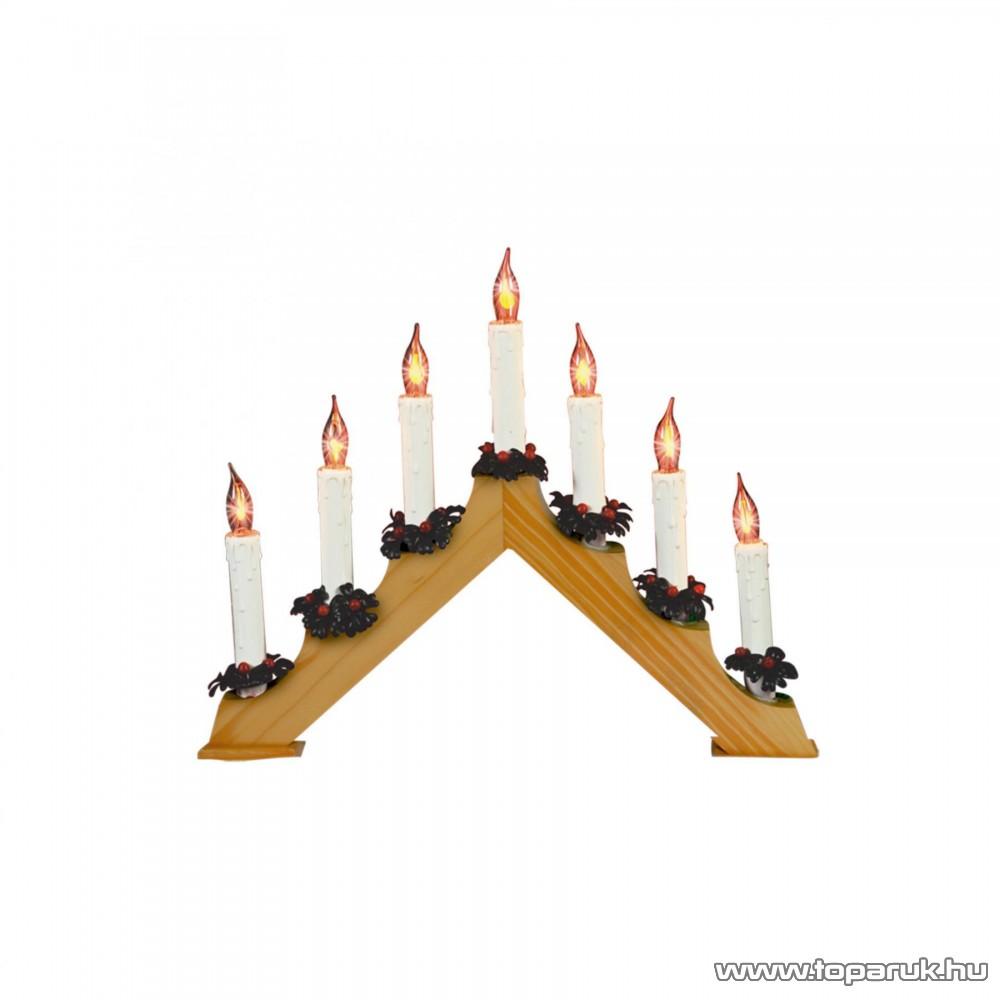 HOME KAD 07 Gyertyapiramis, lakkozott fa, 7 db piros fényű gyertyaláng izzó