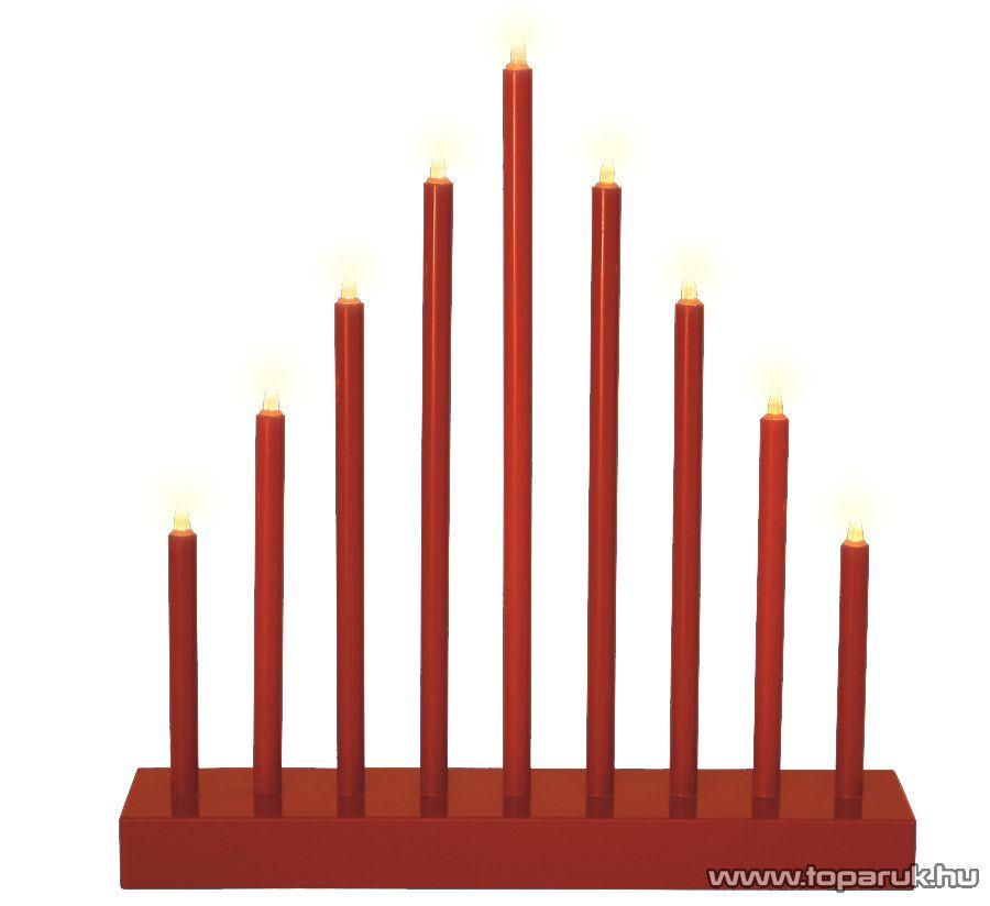 HOME KAD 09/RD Beltéri LED-es gyertyapiramis időzítővel, 9 db melegfehér állófényű LED, piros színű