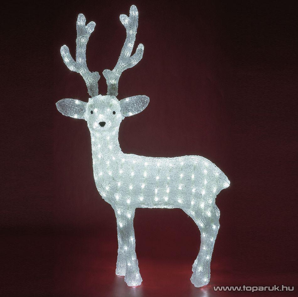 HOME KDA 4 Kültéri LED-es akril nagy rénszarvas dekoráció, 200 db hideg fehér fénnyel világító leddel