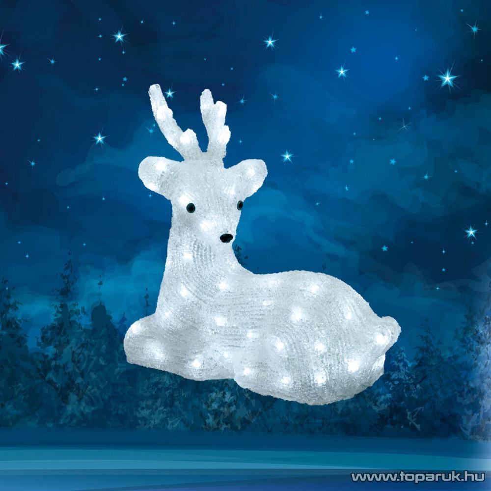 HOME KDA 7 Kültéri LED-es akril fekvő rénszarvas dekoráció, 64 db hideg fehér fénnyel világító leddel