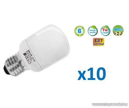 HOME KFH 7/27X Kompakt fénycső, henger, 7 W, E 27 / mini, 2700 K, 10 db / csomag