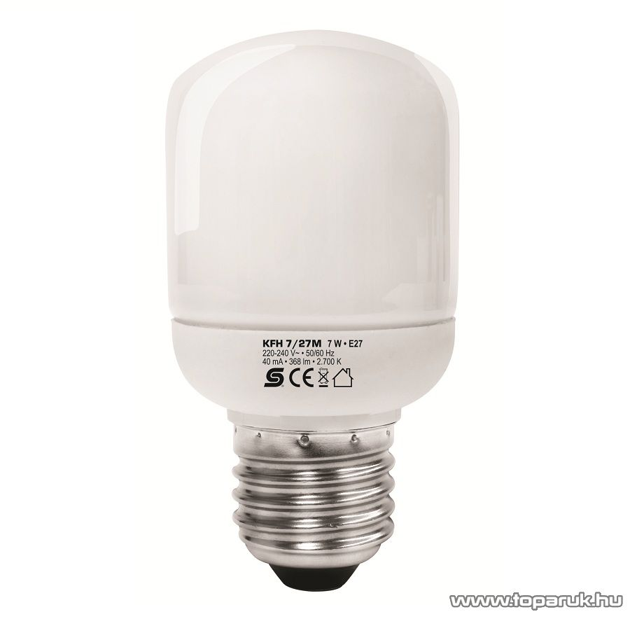 HOME KFH 7/27 Kompakt fénycső, henger, 7 W, E 27 / mini, 2700 K