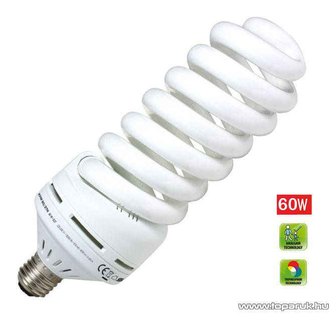 HOME KFM 60/27H Kompakt fénycső (lámpa izzó), maxi spirál, 60 W, E 27, 4200 K (hideg fehér)
