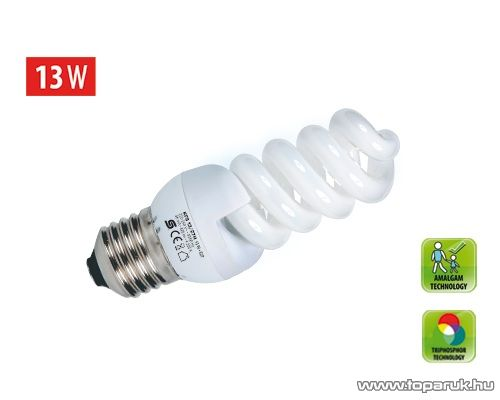 HOME KFS 13/27H Kompakt fénycső, spirál, 13 W, E 27, 4200 K