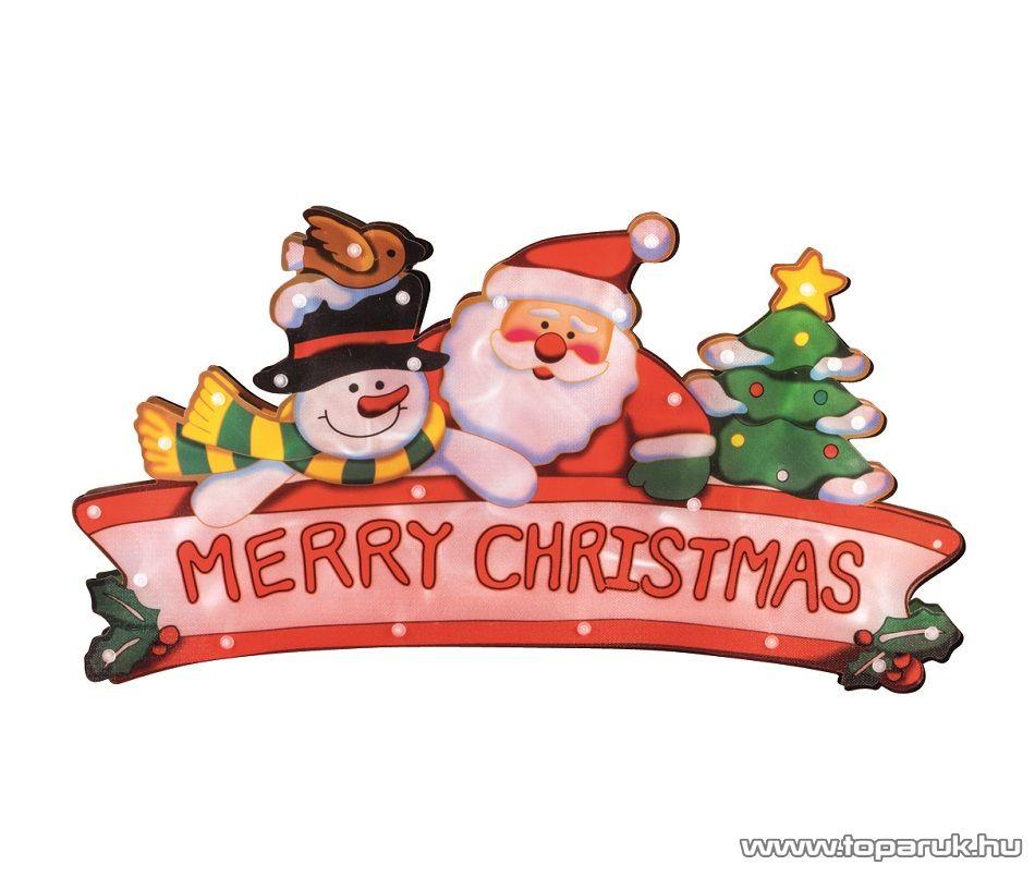 HOME KID 19/EN Beltéri MERRY CHRISTMAS feliratú ablakdísz, 20 db fehér izzóval