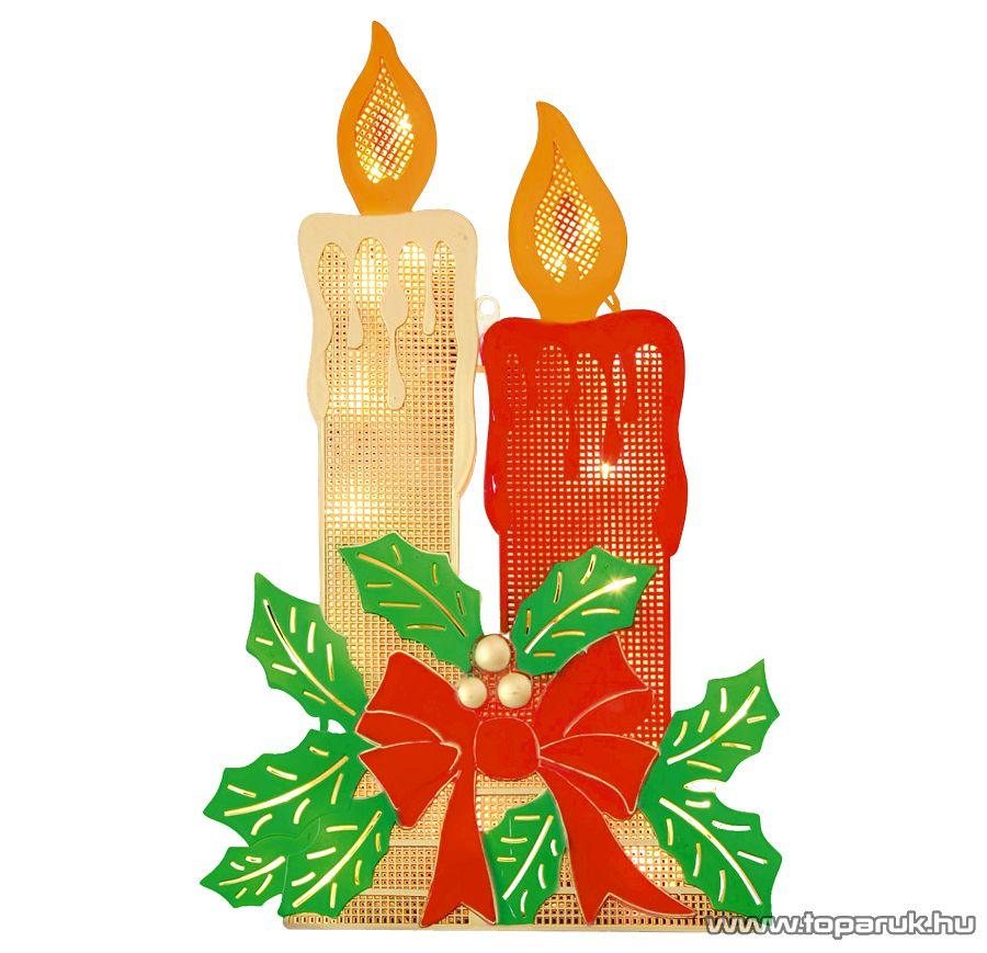 HOME KID 201 Gyertya ablakdísz, színes sziluett, 20 db meleg fehér fényű hagyományos izzóval