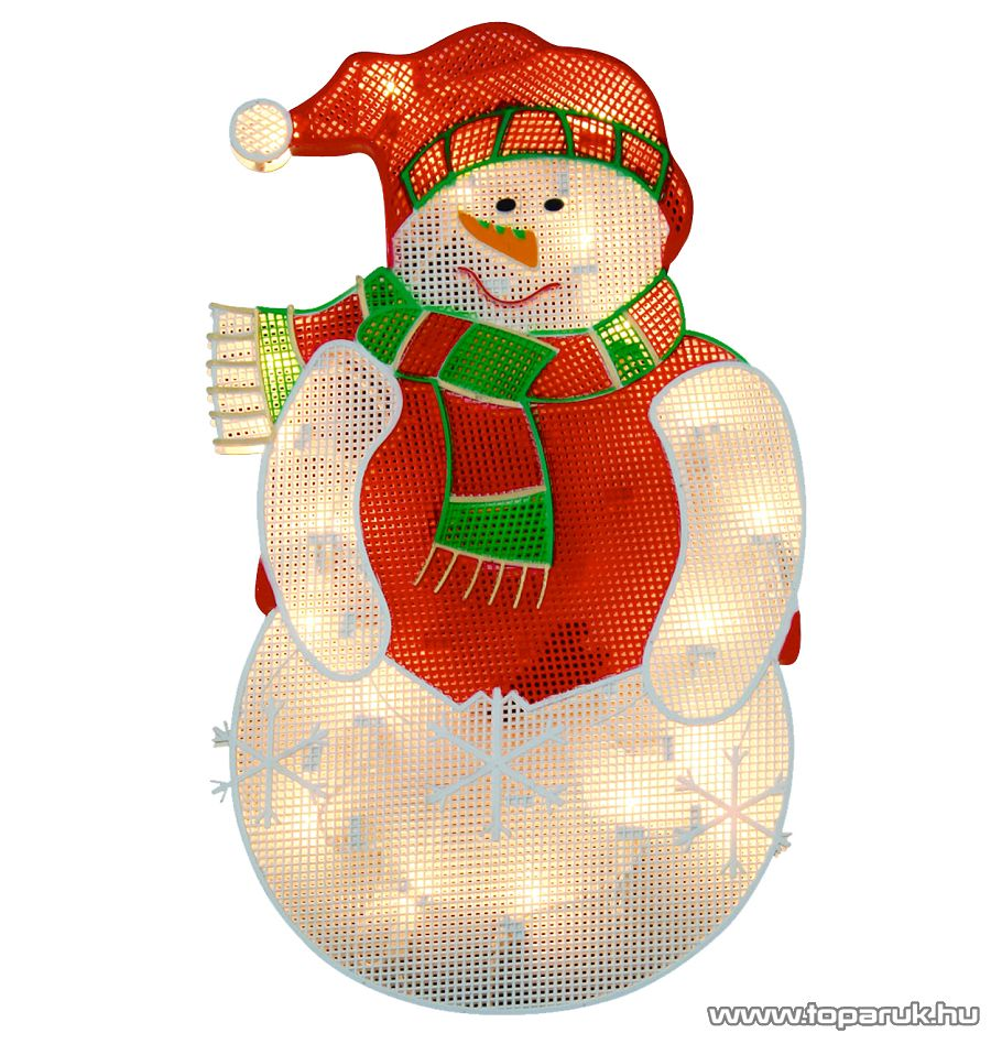 HOME KID 204 Hóember ablakdísz, színes sziluett, 20 db meleg fehér fényű hagyományos izzóval