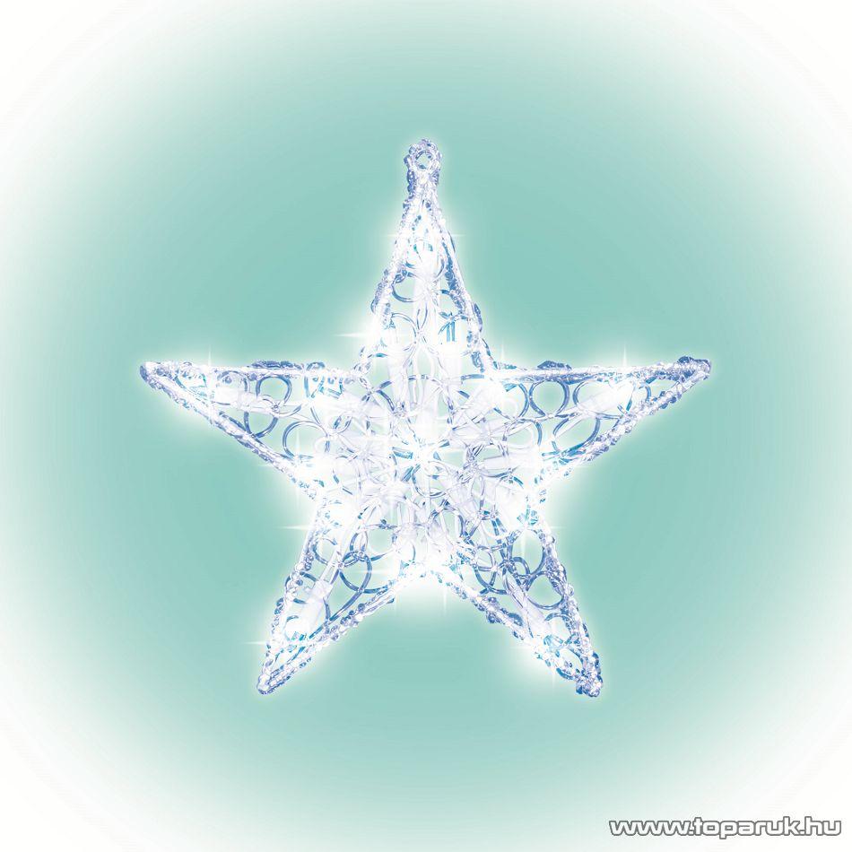 HOME KID 211 Fényes műanyag csillag ablakdísz, 20 db meleg fehér fényű hagyományos izzóval