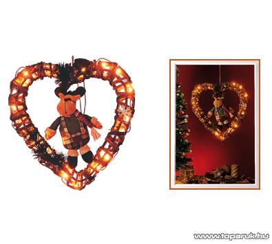 HOME KID 240/R Rattan világító dekoráció, szív forma, szarvas figurával