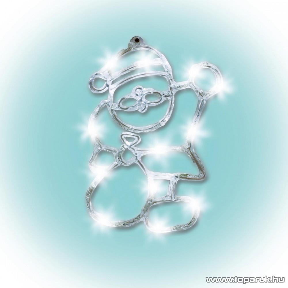 HOME KID 702 Beltéri LED-es akril ablakdísz, Mikulás dekoráció, hidegfehér, 18 db meleg fehér fényű leddel