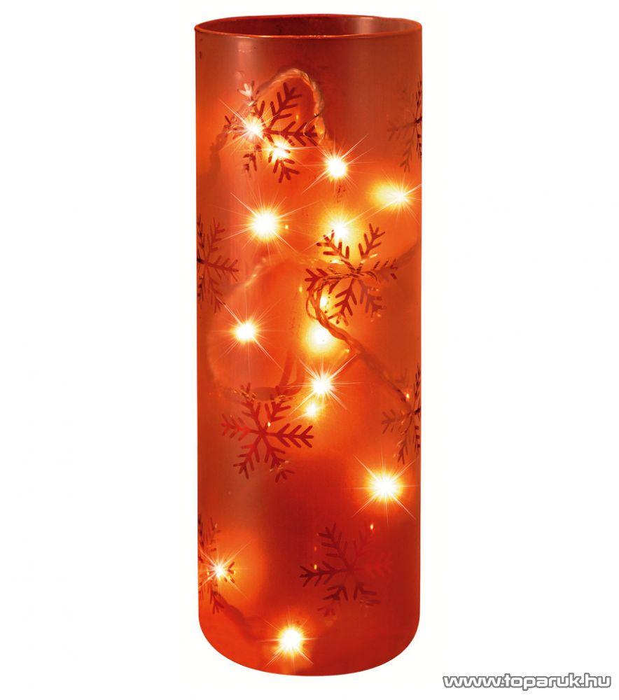 HOME KIG 23/T Tejüveg hanger dísz, hópehely dekorációval, 23 cm - készlethiány