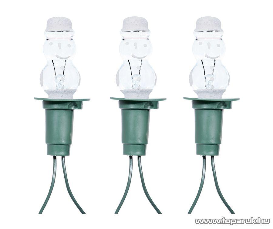 HOME KIRF 12H Hóember izzós fényfüzér, 12 izzó, fehér - készlethiány