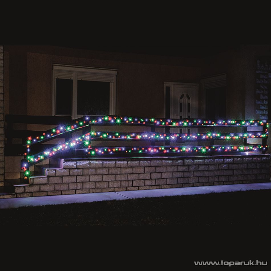 HOME KKL 200/M Kültéri LED-es fényfüzér, 14 m hosszú, 200 db multi (színes) fényű LED-del, állófényű