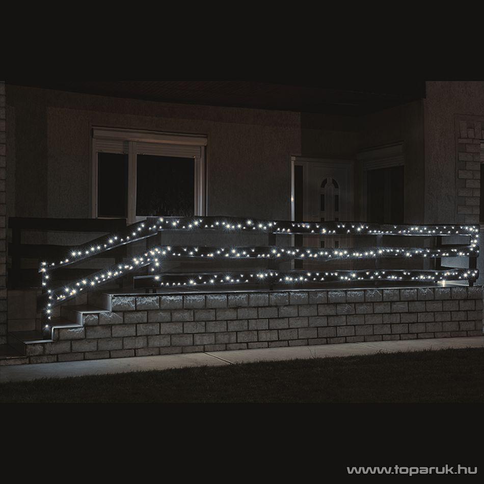 HOME KKL 200/WH Kültéri LED-es fényfüzér, 14 m hosszú, 200 db hideg fehér fényű LED-del, állófényű