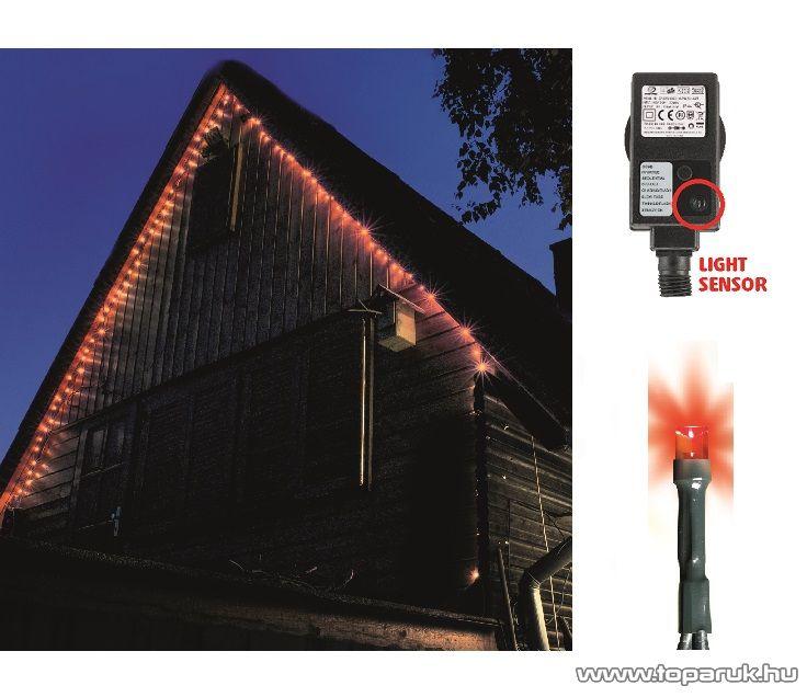 HOME KTL 108/RD Kültéri LED-es fényérzékelős fényfüzér, 100 db piros fényű leddel, 8 programos fényjátékkal