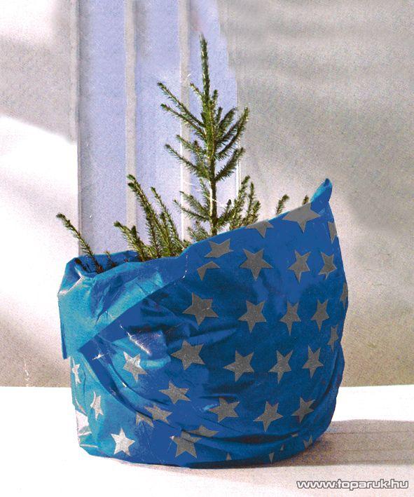 HOME KT 250/BL Karácsonyfa takaró 3 in 1 (burkolatvédő, csomagoló és szállítóanyag), kék alap / ezüstszürke csillagok