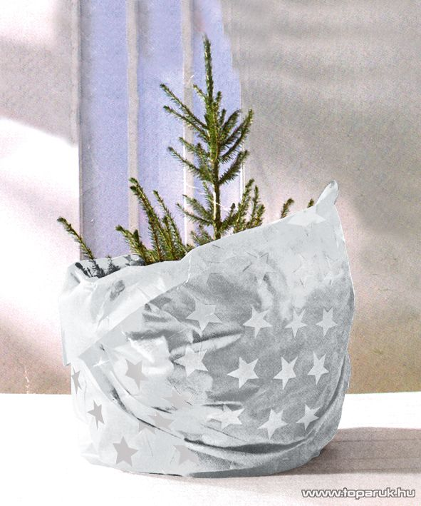 HOME KT 250/WH Karácsonyfa takaró 3 in 1 (burkolatvédő, csomagoló és szállítóanyag), fehér alap / ezüstszürke csillagok