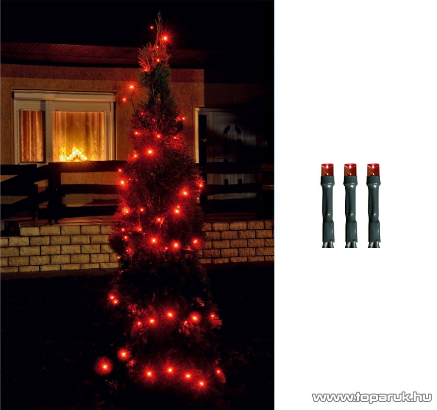 HOME LED 208/RD Kültéri LED-es fényfüzér, 14 m hosszú, 200 db piros fényű LED-del, 8 programos, memóriás