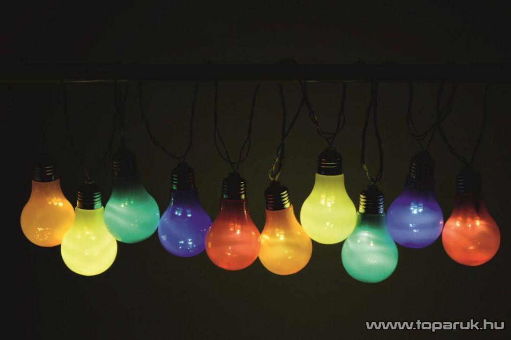HOME LP 10/M Kültéri kivitelű LED-es villanykörte fényfüzér, 10 db színes, műanyag villanykörte égővel, 30 db leddel