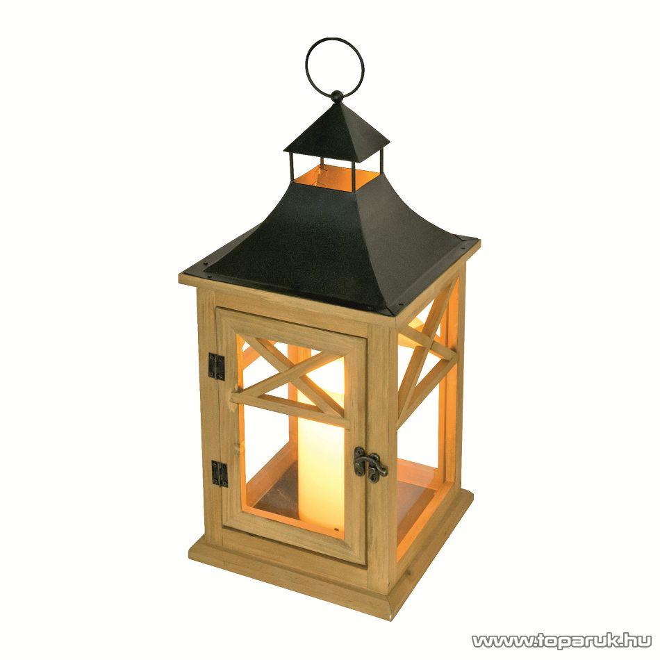 HOME LTN 6 Beltéri lámpás LED-es gyertyával, fa alapanyag üveggel + fém tető