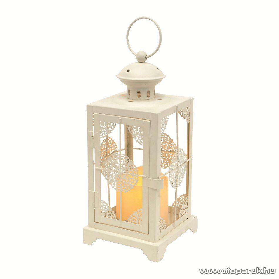 HOME LTN 9 Beltéri lámpás LED-es gyertyával, fém anyagú, fehér