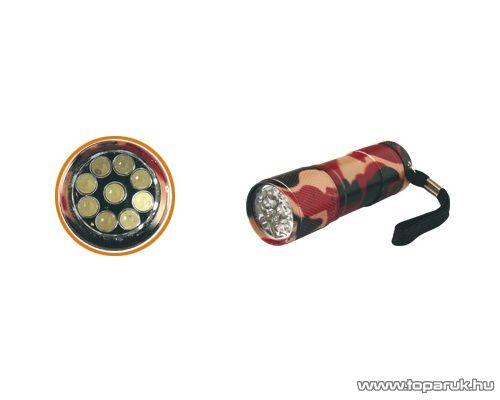 HOME MFL 10 LED-es elemlámpa, terepszínű, fém, 9 LED-es