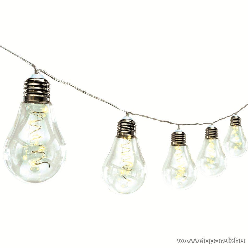 HOME ML 10 GLOBE Kültéri LED-es, elemes fényfüzér, 10 db üveg villanykörte, 50 db meleg fehér micro LED-del