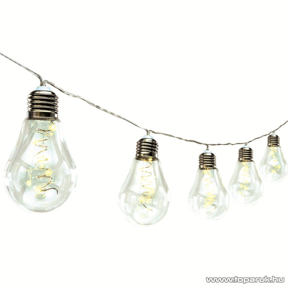HOME ML 10 GLOBE Beltéri LED-es, elemes fényfüzér, 10 db üveg villanykörte, 50 db meleg fehér micro LED-del