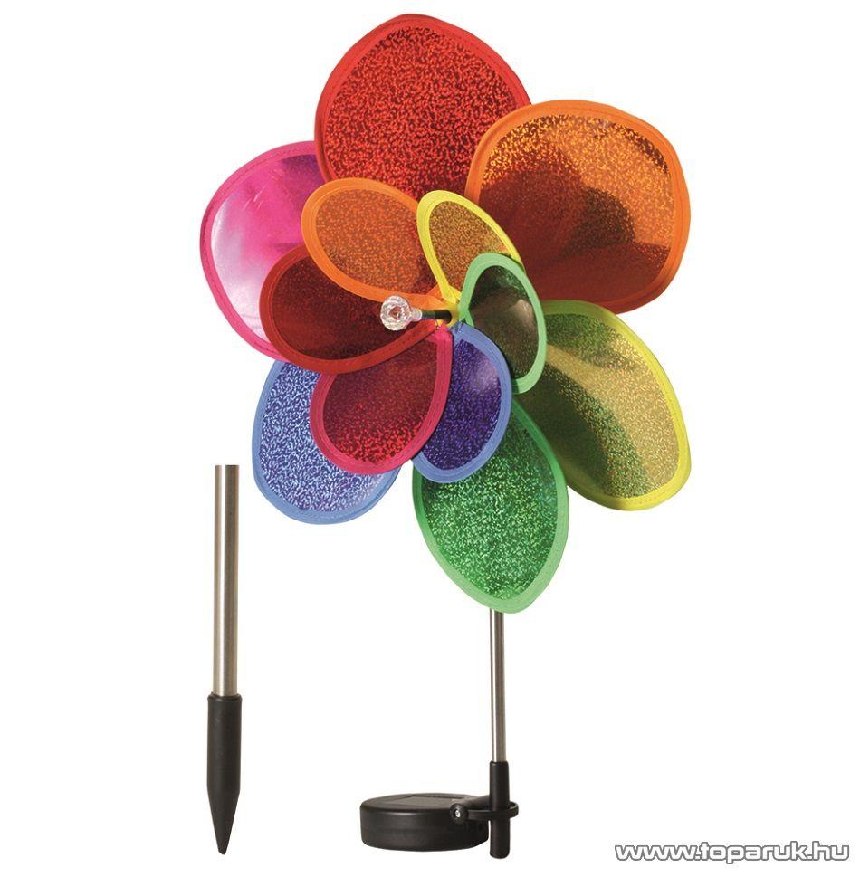 HOME MX 617 LED-es forgó napelemes virág, szolárlámpa, napelemes kerti lámpa, szélforgó, 30cm-es