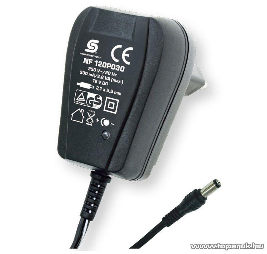 HOME NF 120P030 Fix feszültségű hálózati adapter, 300 mA, 12 V