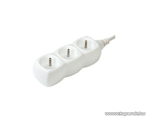 HOME NV 03/WH 3-as hálózati elosztó, 1,5 m kábel, fehér