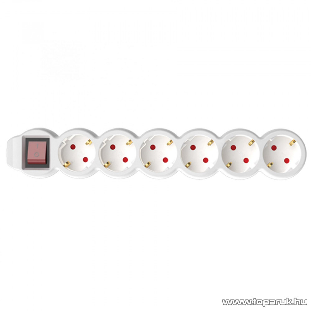 HOME NV 06K/WH 6-os hálózati elosztó kapcsolóval, védőérintkezős aljzattal, 1,5 m, fehér