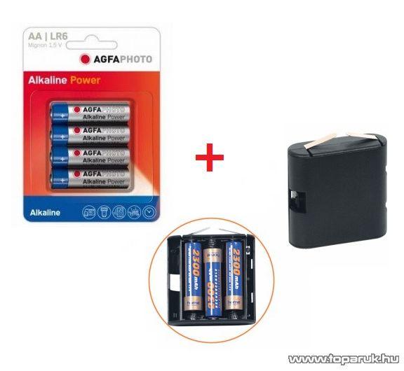 HOME OLT 10 zsebtelep (4,5V-os 3R12) méretű elemtartó + 4 db AgfaPhoto AF LR6 alkáli AA ceruza elem - megszűnt termék: 2015. január