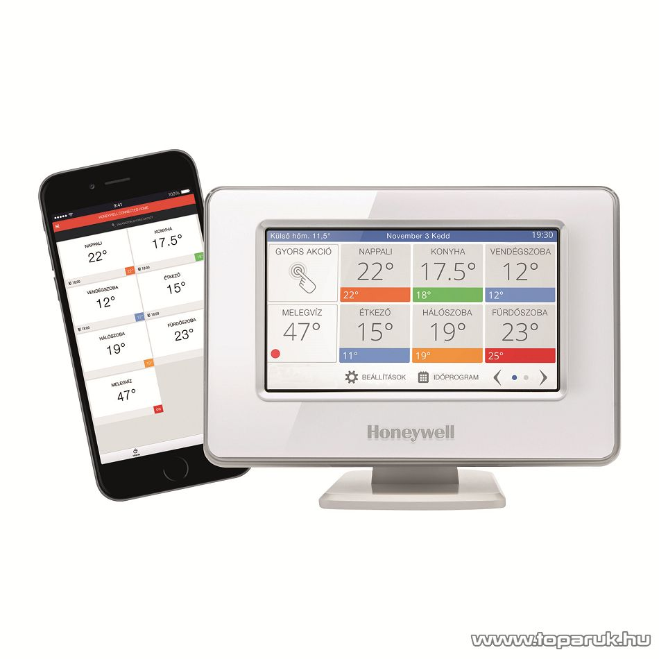 Honeywell ATC928WIFI Evohome Multi-zone okostelefonnal programozható szobatermosztát (okostermosztát), WiFi, színes LCD kijelző