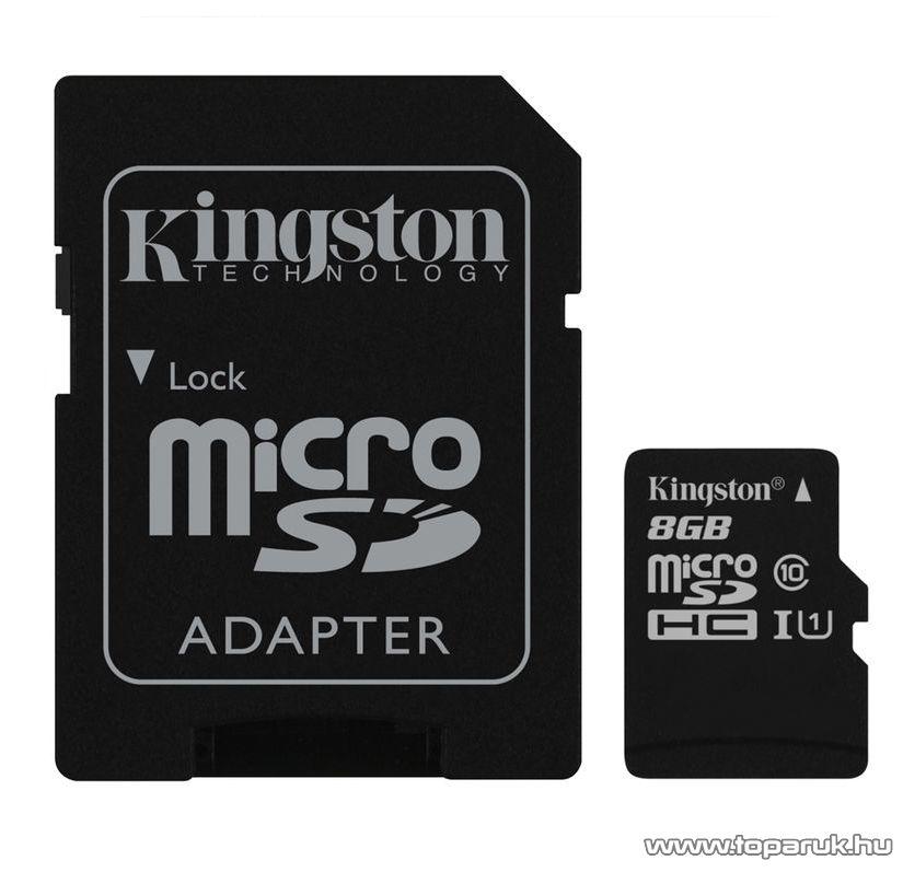 Kingston SDC10G2 Secure Digital Micro 8GB SDHC Class10 memóriakártya + SD adapter
