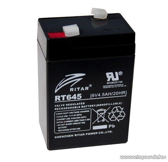 RITAR RT 645 Zselés, ólom akkumulátor, gondozásmentes szünetmentes akku, 6V, 4,5Ah