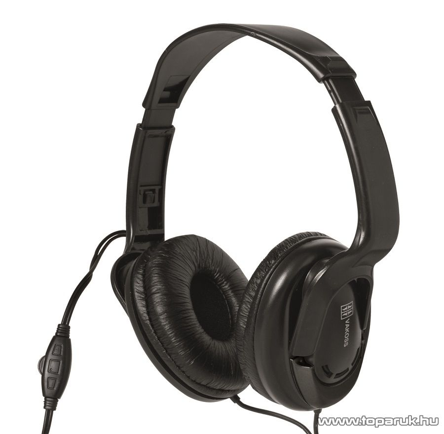 SAL HPH 7 BLACK Sztereó fejhallgató, párnázott kivitel, hengerőszabályzóval, fekete