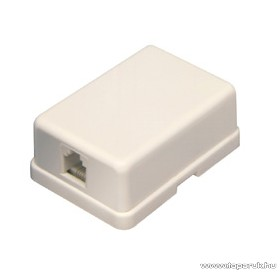USE TS 1MX Telefon fali aljzat, öntapadós, csavarozható, csontszínű, 6P/4C