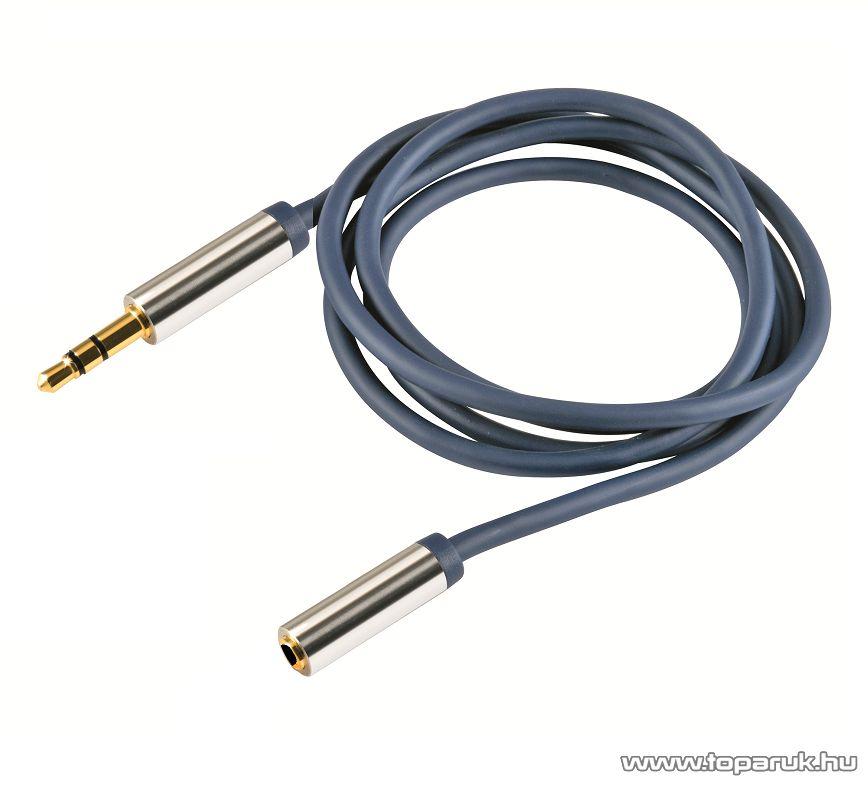 USE A 54-2.5M Audió kábel, 3,5mm sztereó fém dugó - 3,5mm sztereó fém aljzat, 2,5 m