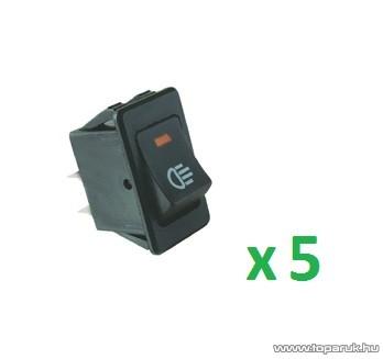 USE AKL 01 Világítós billenőkapcsoló, 2 áramkör - 2 állás, 12 V, piros led, 5 db / csomag