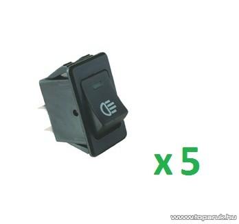 USE AKL 02 Világítós billenőkapcsoló, 2 áramkör - 2 állás, 12 V, zöld led, 5 db / csomag
