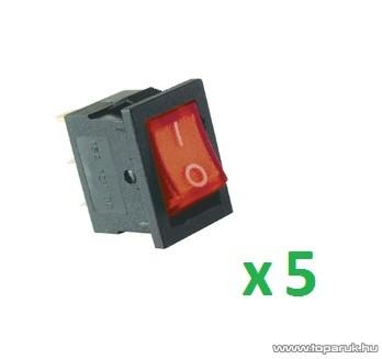 USE AKV 01 Világítós billenőkapcsoló, 1 áramkör - 2 állás, 12 V, piros, 5 db / csomag