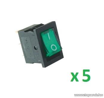 USE AKV 02 Világítós billenőkapcsoló, 1 áramkör - 2 állás, 12 V, zöld, 5 db / csomag