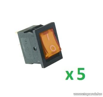 USE AKV 03 Világítós billenőkapcsoló, 1 áramkör - 2 állás, 12 V, sárga, 5 db / csomag