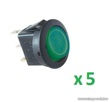 USE AKV 12 Világítós billenőkapcsoló, 1 áramkör - 2 állás, 12 V, zöld, 5 db / csomag