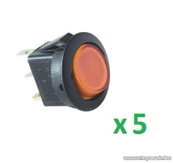 USE AKV 13 Világítós billenőkapcsoló, 1 áramkör - 2 állás, 12 V, sárga, 5 db / csomag