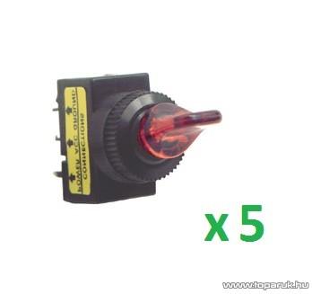 USE AK 01 Világítós billenőkapcsoló, 1 áramkör - 2 állás, 12 V, piros, 5 db / csomag