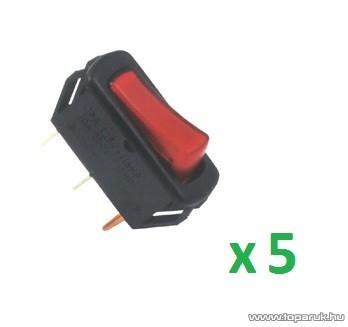USE AK 03 Világítós billenőkapcsoló, 1 áramkör - 2 állás, 12 V, piros, 5 db / csomag